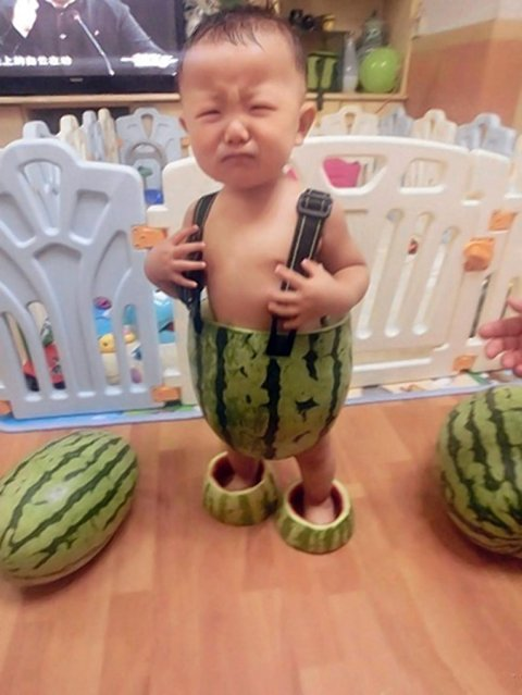New China Trend: Babies Wearing Watermelons