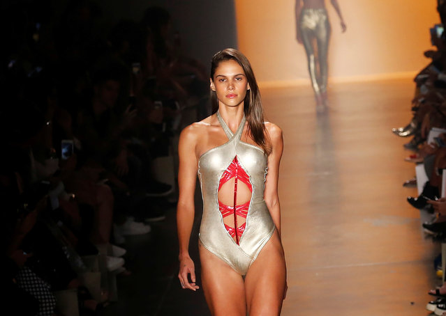 Model presents a creation from Amir Slama during Sao Paulo Fashion Week in Sao Paulo, Brazil, March 17, 2017. (Photo by Nacho Doce/Reuters)