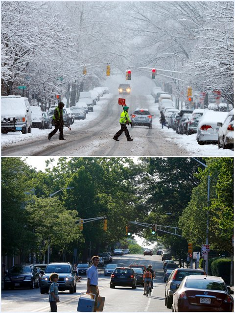 A combination picture shows a snow shoveler crossing a street during a winter snowstorm in Cambridge, Massachusetts, United States January 24, 2015 (top), and pedestrians crossing the same street June 13, 2015. (Photo by Brian Snyder/Reuters)