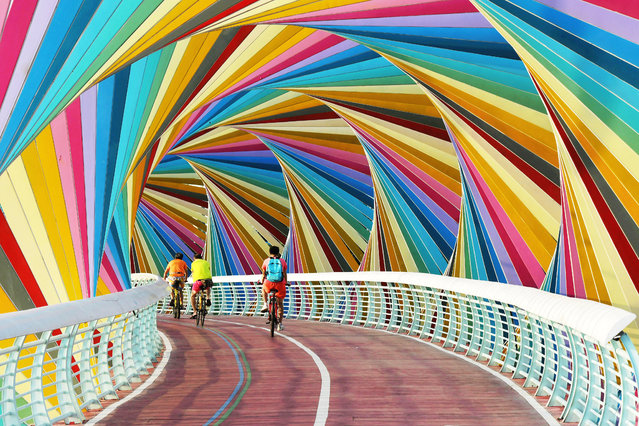 Cyclists cross a colourful footbridge in a park in Shandong province, Qingdao, China on September 9, 2019. (Photo by Yu Fangping/Feature China/Barcroft Media)