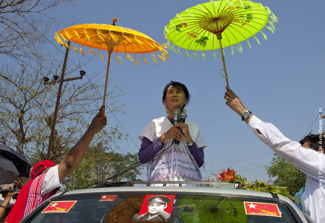 Myanmar opposition leader Aung San Suu Kyi takes her campaign for a parliament seat to the southern constituency she hopes to represent