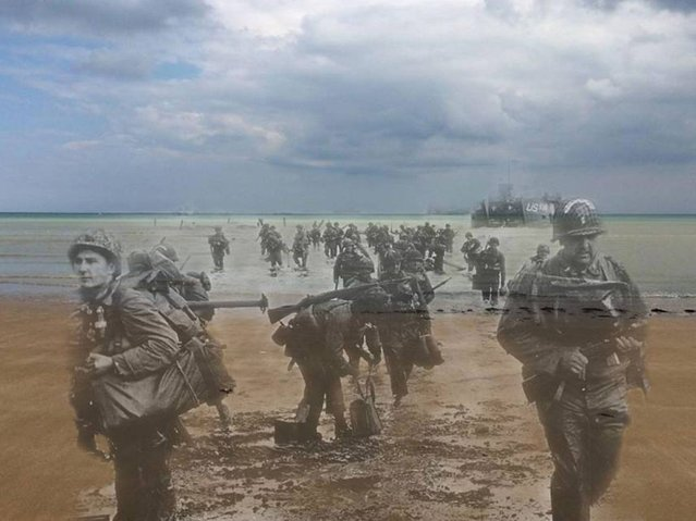 Landing Day: Special engineer brigade landing on Omaha beach D-Day afternoon 1944 – 2014. (Photo by Adam Surrey)