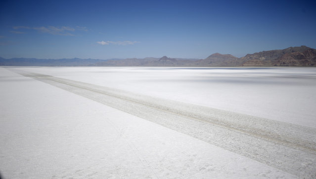 This Wednesday, July 22, 2015, shows an aerial view of the Bonneville Salt Flats in Utah. (Photo by Rick Bowmer/AP Photo)