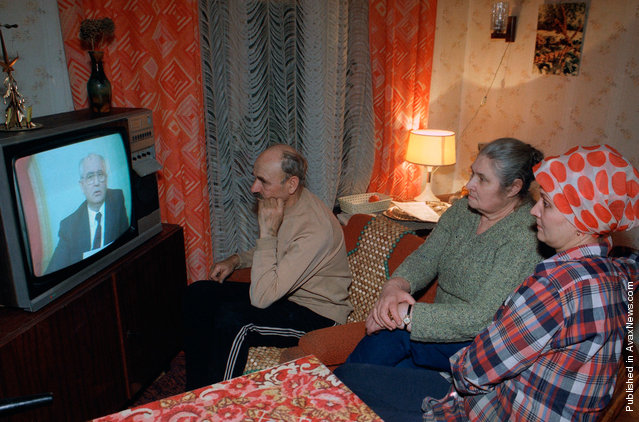 The Musichick family watches Soviet President Mikhail Gorbachev's resignation speech on Soviet television in their downtown Moscow apartment, on December 25, 1991. Gorbachev, whose reforms gave Soviet citizens freedom but ultimately led to the destruction of his nation resigned on as President of a Communist empire that no longer exists
