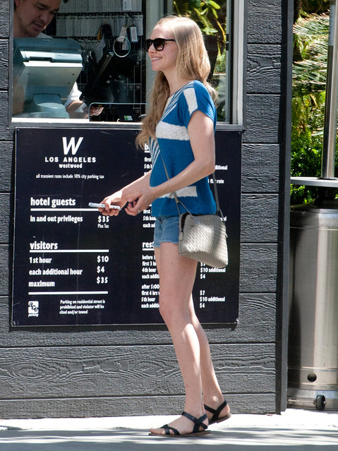 Amanda Seyfried is seen at the valet, Los Angeles, CA., on April 9,  2014. (Photo by Bauergriffin.com)