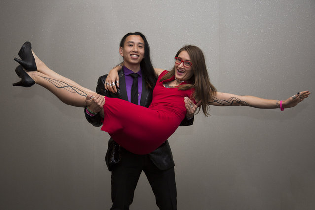 A swinging couple at Naughty in N'awlins held in New Orleans, Louisiana. (Photo by Mathew Growcoot/News Dog Media)