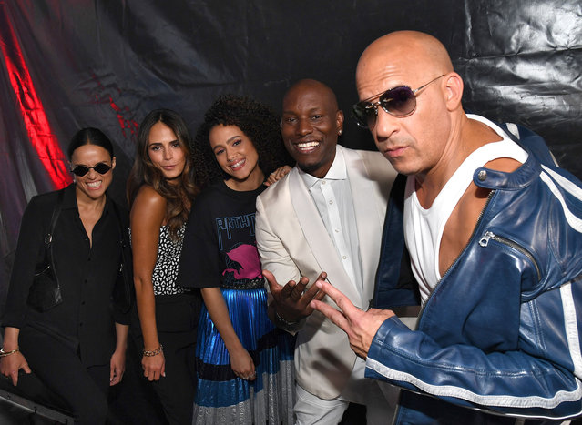 (L-R) Michelle Rodriguez, Jordana Brewster, Nathalie Emmanuel, Tyrese Gibson and Vin Diesel attend Universal Pictures Presents The Road To F9 Concert and Trailer Drop on January 31, 2020 in Miami, Florida. (Photo by Kevin Mazur/Getty Images for Universal Pictures)