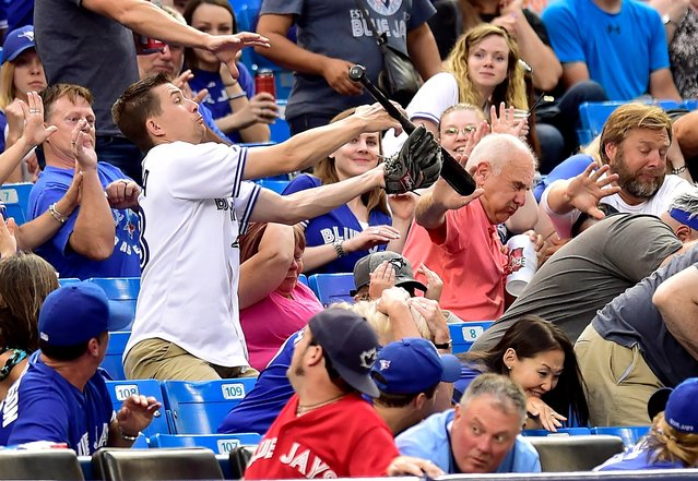 A fan makes a catch after Toronto Blue Jays' Steve Pearce lost his bat during first-inning baseball game action against the Tampa Bay Rays in Toronto, Monday, August 14, 2017. (Photo by Frank Gunn/The Canadian Press via AP Photo)