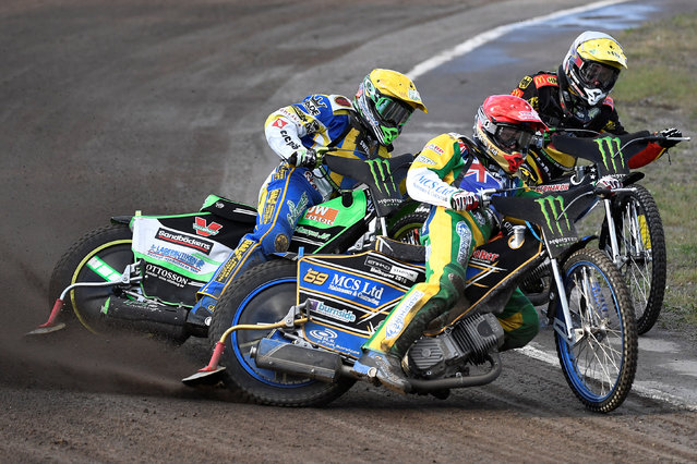 Sweden's Peter Ljung, Australia's Jason Doyle and Germany's Kevin Wolbert during heat 5 of the Speedway Team World Championship, Event 2 at the Stena Arena in Vastervik, Sweden July 26, 2016. (Photo by Mikael Fritzon/Reuters/TT News Agency)