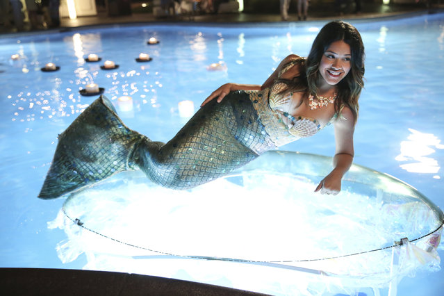 """In this image released by The CW, Gina Rodriguez portrays Jane in the new series, """"Jane The Virgin"""", premiering Monday, October 13, 2014. (Photo by Tyler Golden/AP Photo/The CW)"""