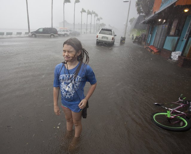 Hannah Coles, 9, takes a break from riding her bike to feel a strong rain band rain shortly Thursday afternoon, September 1, 2016 in Gulfport, Fla. Coles was taking advantage of the day off from school to play in the rain and flooding. Tropical Storm Hermine strengthened into a hurricane Thursday and steamed toward Florida's Gulf Coast. (Photo by John Pendygraft/Tampa Bay Times via AP Photo)