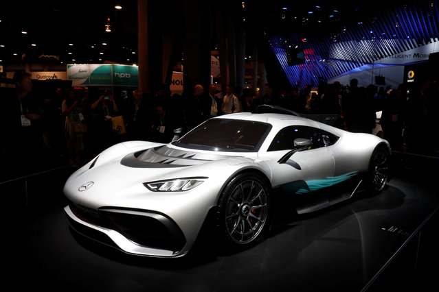 A two-seater Mercedes-AMG Project ONE is displayed at the Las Vegas Convention Center during the 2018 CES in Las Vegas, Nevada, U.S. January 9, 2018. (Photo by Steve Marcus/Reuters)