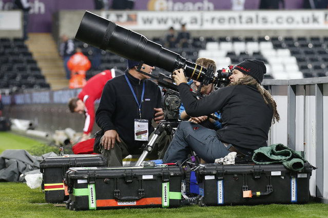 Football, Swansea City vs Stoke City, Barclays Premier League, Liberty Stadium on October 19, 2015: Member of the media at work. (Photo by Carl Recine/Reuters/Action Images)