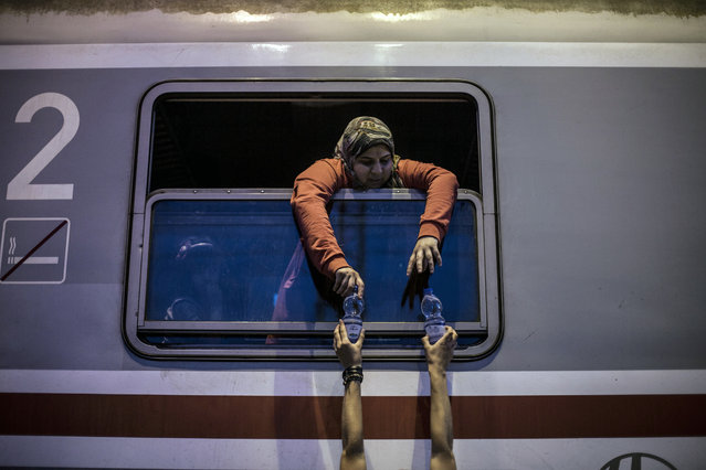 Syrian refugee takes water from a volunteer worker in a train at the station in Tovarnik, Croatia, Saturday, September 19, 2015. (Photo by Manu Brabo/AP Photo)
