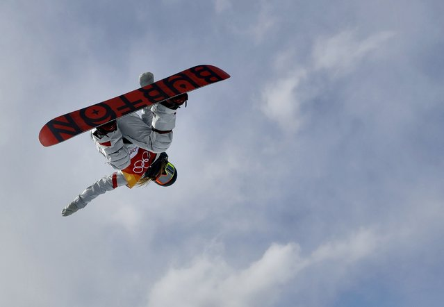 ChloeKim, of the United States, jumps during the women's halfpipe qualifying at Phoenix Snow Park at the 2018 Winter Olympics in Pyeongchang, South Korea, Monday, February 12, 2018. (Photo by Kin Cheung/AP Photo)