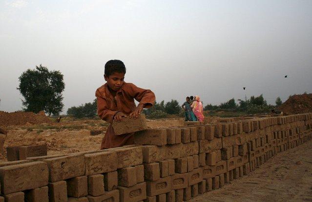 A child stacks bricks at a brick factory outside Faisalabad, Pakistan October 19, 2015. (Photo by Fayyaz Hussain/Reuters)