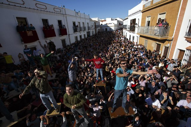 People shout to ask for food thrown from a balcony during the annual San Antonio Abad (Saint Anton Abbott) festival in Trigueros, southwest Spain January 25, 2015. (Photo by Marcelo del Pozo/Reuters)