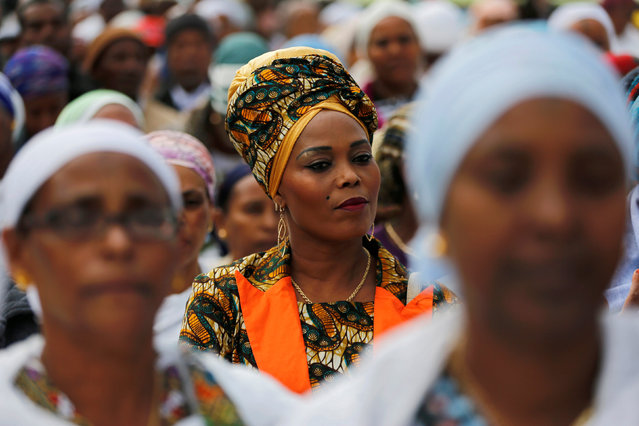 Members of the Israeli Ethiopian community take part in a ceremony marking the Ethiopian Jewish holiday of Sigd in Jerusalem November 30, 2016. (Photo by Ammar Awad/Reuters)