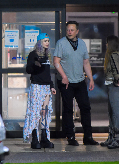 """Elon Musk arrives to a New York City area airport ahead of his controversial """"Saturday Night Live"""" hosting gig on May 3, 2021. The 49 year old Tesla CEO  was joined by his partner, Grimes and their child as they arrived to Teterboro airport in New Jersey. (Photo by TheImageDirect)"""
