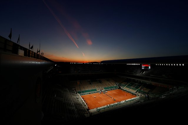 A view of the court during the first round match between Serbia's Novak Djokovic and Tennys Sandgren of the U.S. at the French Open in Paris on June 1, 2021. (Photo by Christian Hartmann/Reuters)