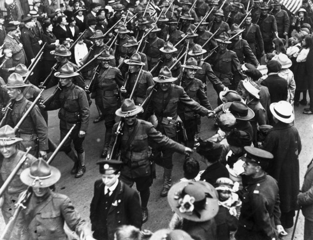 American troops marching through London during World War I, August 1917. (Photo by A. R. Coster/Topical Press Agency/Getty Images)