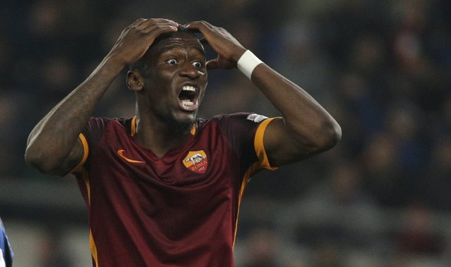 Football Soccer, AS Roma vs Inter Milan, Serie A, Olympic Stadium, Rome, Italy on March 18, 2016: AS Roma's Antonio Rudiger reacts. (Photo by Max Rossi/Reuters)