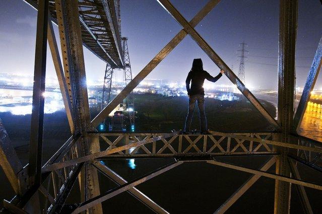 Lucinda Grange on the Transporter Bridge in Newport, Wales. (Photo by Lucinda Grange/Barcroft Media)