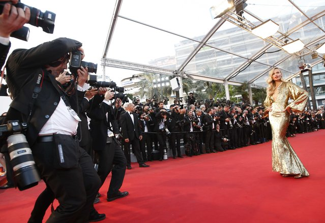 "Model Natasha Poly poses on the red carpet as she arrives for the screening of the film ""The Sea of Trees"" in competition at the 68th Cannes Film Festival in Cannes, southern France, May 16, 2015. (Photo by Eric Gaillard/Reuters)"