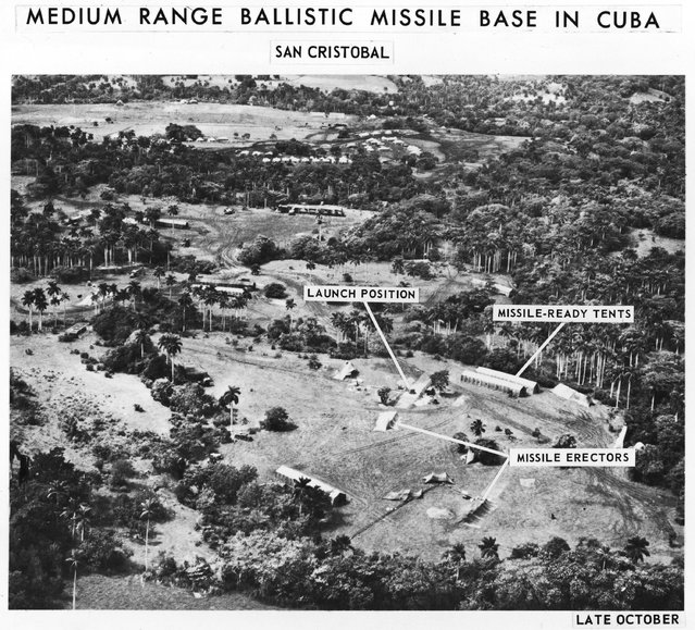 A spy photo of a medium range ballistic missile base in San Cristobal, Cuba, with labels detailing various parts of the base, displayed October of 1962. (Photo by Getty Images)