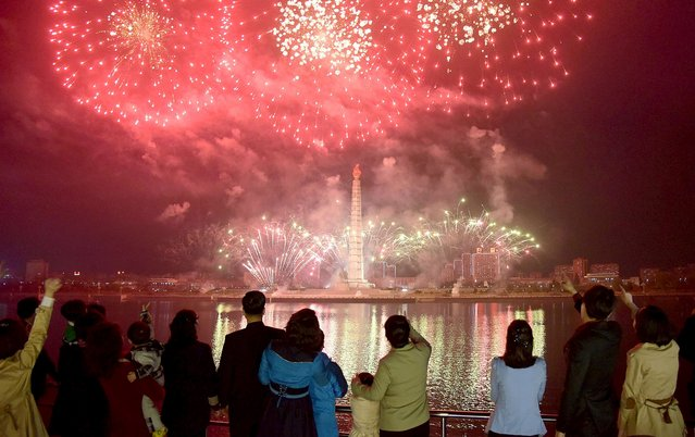 Fireworks illuminate the sky over Pyongyang to mark the birth anniversary of North Korea's founding leader Kim Il Sung in this photo released by North Korea's Korean Central News Agency (KCNA) in Pyongyang April 15, 2016. (Photo by Reuters/KCNA)