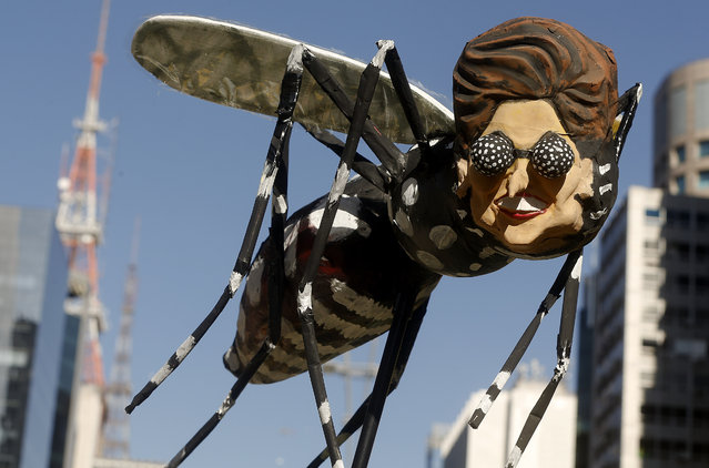 A demonstrator holds a Aedes aegypti mosquito doll depicting Brazil's President Dilma Rousseff during protest demanding her impeachment in Sao Paulo, Brazil, Sunday, April 17, 2016. Today's vote in thelower house will determine whether the impeachment proceeds to the Senate. Rousseff is accused of violating Brazil's fiscal laws to shore up public support amid a flagging economy. (Photo by Andre Penner/AP Photo)