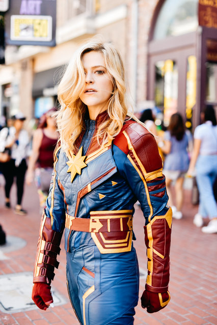 A cosplayer dressed as Captain Marvel attends the 2019 Comic-Con International on July 18, 2019 in San Diego, California. (Photo by Matt Winkelmeyer/Getty Images)