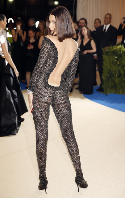 """Bella Hadid attends """"Rei Kawakubo/Comme des Garcons: Art Of The In-Between"""" Costume Institute Gala – Arrivals at Metropolitan Museum of Art on May 1, 2017 in New York City. (Photo by Carlo Allegri/Reuters)"""