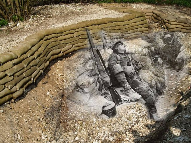 Rest Up: A British Soldier catches a few ZZZs in a trench in Thiepval Woods 1916 – 2014. (Photo by Adam Surrey)