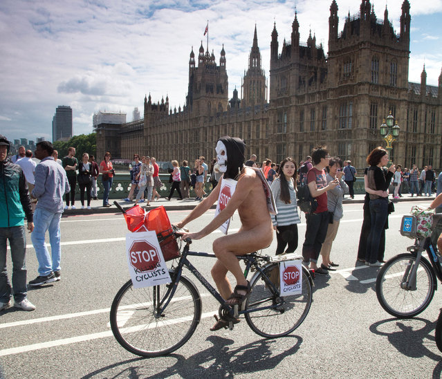 Naked Bike Ride, London, Britain, 14 June 2014. (Photo by Mark Thomas/Rex Features)