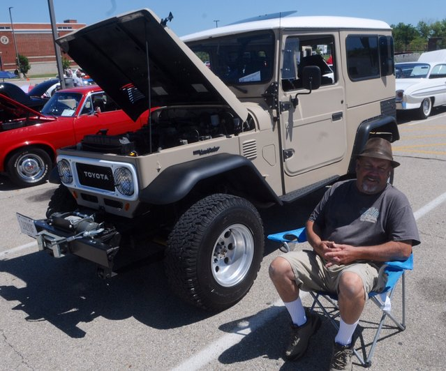 This Toyota Land Cruiser was one of over 150 cars at the eighth annual historic U.S Route 40 Mini-Nationals car show held on Sunday at Tecumseh high school. (Photo by Marshall Gorby/AP Photo)
