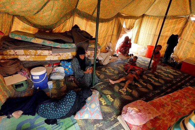 Displaced people, who fled from Falluja because of Islamic State violence, are seen inside a tent at a refugee camp in Ameriyat Falluja, south of Falluja, Iraq, June 16, 2016. (Photo by Ahmed Saad/Reuters)