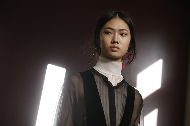 A model wears a creation for Valentino Haute Couture Fall/Winter 2017/2018 fashion collection presented in Paris, on Wednesday, July 5, 2017 in Paris. (Photo by Thibault Camus/AP Photo)