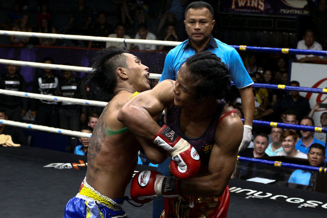 Muay Thai boxer Nong Rose Baan Charoensuk (R), 21, who is transgender, fights Priewpak Sorjor Wichit-Padrew during a boxing match at the Rajadamnern Stadium in Bangkok, Thailand, July 13, 2017. (Photo by Athit Perawongmetha/Reuters)