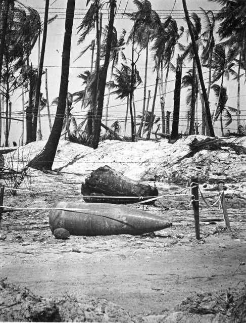 Unexploded 14-inch shell from American battlewagon