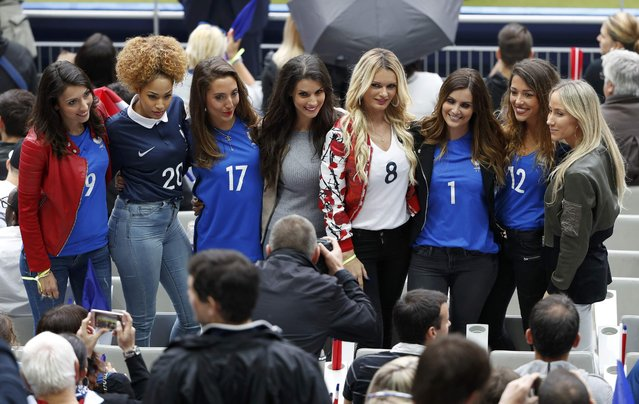Football Soccer, France vs Iceland, EURO 2016, Quarter Final, Stade de France, Saint-Denis near Paris, France on July 3, 2016. Wives and girlfriends of France team pose for a photo as they wait for match against Iceland to start. (Photo by Charles Platiau/Reuters)