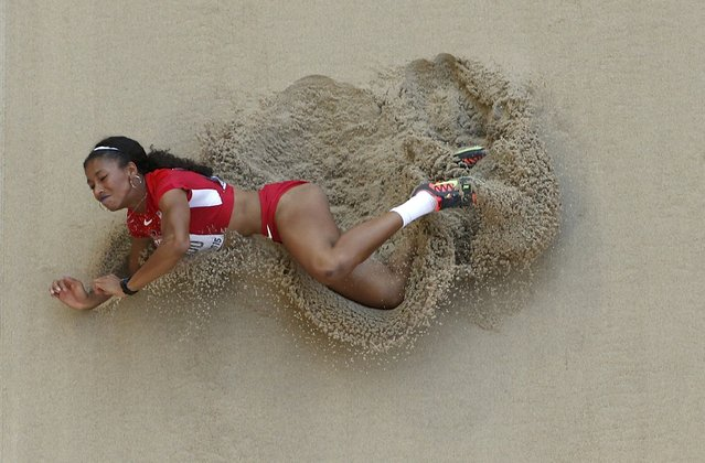 Jasmine Todd of the U.S. competes in the women's long jump qualifying round during the 15th IAAF World Championships at the National Stadium in Beijing, China, August 27, 2015. (Photo by Kim Kyung-Hoon/Reuters)