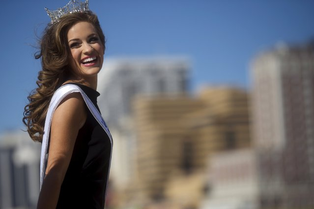 Miss America 2016 Betty Cantrell of Georgia walks by the ocean during a photo opportunity after winning the 95th Miss America Pageant last night at Boardwalk Hall, in Atlantic City, New Jersey, September 14, 2015. (Photo by Mark Makela/Reuters)