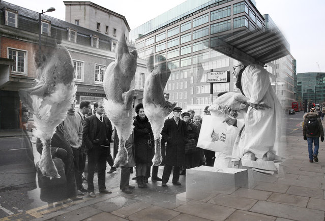 Archive: Turkeys are auctioned at Smithfield market for Christmas trade on December 21, 1968 in London, England.  (Photo by Miller/Keystone/Getty Images) Modern Day: People walk by Smithfield Market on December 9, 2014 in London, England. (Photo by Peter Macdiarmid/Getty Images)
