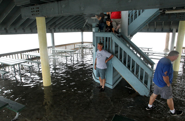 Frank Nicholson, center, stands by the stairs of the observation deck at Hudson Beach with his daughter, Aubrey, after a fast-moving rising tide submerged the picnic area and sent storm watchers looking for higher ground Thursday afternoon, September 1, 2016,in Hudson, Fla. (Photo by Brendan Fitterer/Tampa Bay Times via AP Photo)