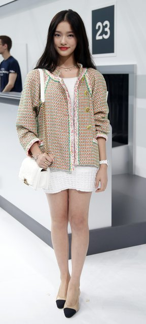 Jelly Lin poses before attending the Spring/Summer 2016 women's ready-to-wear collection for fashion house Chanel in Paris, France, October 6, 2015. (Photo by Charles Platiau/Reuters)