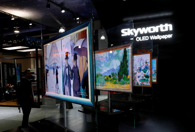 Skyworth OLED Wallpaper televisions are displayed during the 2018 CES in Las Vegas, Nevada, U.S. January 10, 2018. (Photo by Steve Marcus/Reuters)