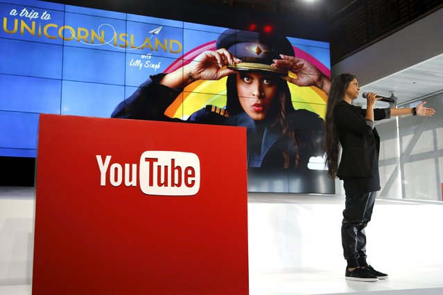 YouTube star Lilly Singh unveils YouTube's new paid subscription service at the YouTube Space LA in Playa Del Rey, Los Angeles, California, United States October 21, 2015. Alphabet Inc's YouTube a $10-a-month subscription option in the United States on October 28 that lets viewers watch videos from across the site without interruption from advertisements, the company said on Wednesday. (Photo by Lucy Nicholson/Reuters)