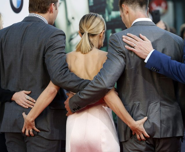 "Cast members Ryan Hansen, Kristen Bell, and Jason Dohring (L-R) pose at the premiere of ""Veronica Mars"" in Hollywood, California in this March 12, 2014 file photo. (Photo by Mario Anzuoni/Reuters)"