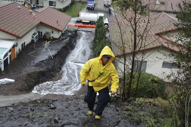 A crew member walks on a hillside near a mudflow in the area of the 2013 Springs Fire, in Camarillo, California December 2, 2014. The area is under mandatory evacuation as a powerful winter storm brings heavy rain to southern California burn areas in Ventura, Los Angeles, Orange and San Diego counties. (Photo by Jonathan Alcorn/Reuters)
